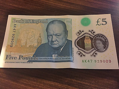 AK47 £5 Note very rare first run Bank of England  polymer Five Pound Note