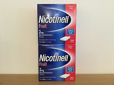 Nicotinell 2mg Fruit Gum - 2 x 204 pieces  - 408 pieces total