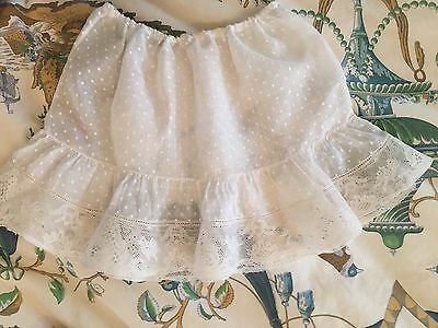 Antique Victorian Lace Skirt 1900 Baby/doll Petticoat Dotted Voile French
