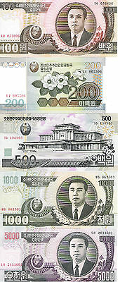 Lote De 5 Billetes =100,200,500,1000 Y 5000 Won De  Corea Sc