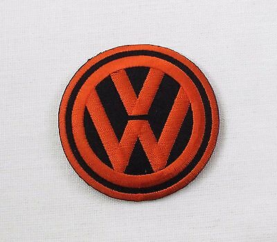VW Iron or sew on embroidered patch Orange on Black bay camper T1 T2 T3 T4