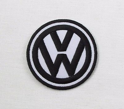 VW Iron or sew on embroidered patch new Black on White bay camper T1 T2 T3 T4