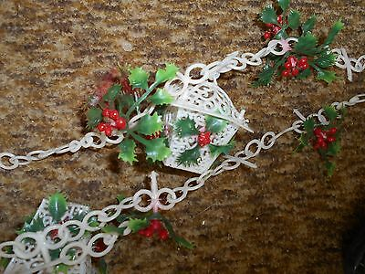 "vintage white holly plastic Christmas garland decoration with lanterns 102"" long"