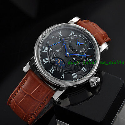 42mm Parnis Moon Phase Mechanical Wrist Watches Black Dial GMT Hand Winding 02