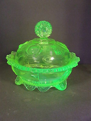 Antique Dewey Canary Vaseline Uranium Glass 1/2Lb Covered Butter Dish