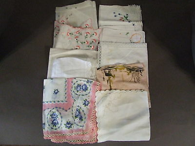 Clearance Lot Of 10 Vintage Hankies Hankys Hankerchiefs Embroidered (Bl 3 )