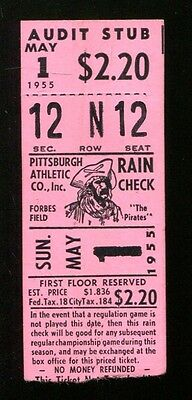 1955 Cardinals v Pirates Ticket 5/1/55 Doubleheader Clemente Rookie 5 Hits