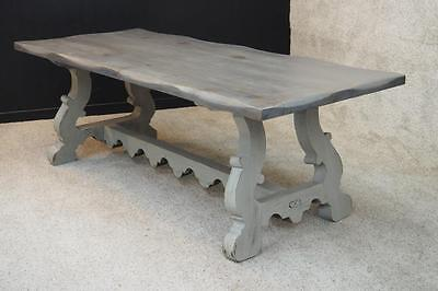 French Country Farm Table Tuscan Weathered Grey Solid Wood Desk Writing Table
