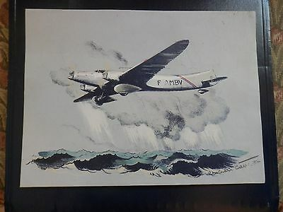 1937 Lucien Cave airplane signed litho Couzinet rare France airline painting