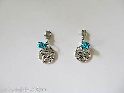 Pagan Wicci Pentacle & Blue Bell Collar Charm for Pet Cat / Kitten or Dog Puppy