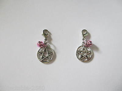 Pagan Wicci Pentacle & Pink Bell Collar / Lead Charm for Pet Cat Kitten or Dog
