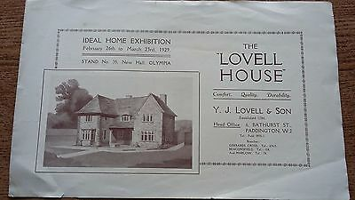 1929 Ideal Home Exhibition Olympia The Lovell House Paddington Builders Brochure
