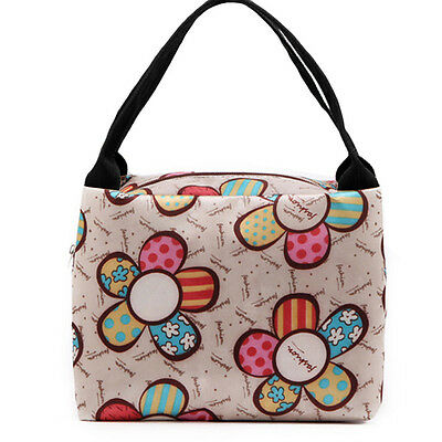 Portable Lunch Box Carry Tote Bag Travel Picnic Storage Bag Sunflower Pattern OK