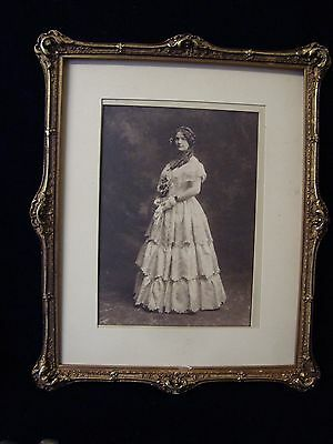 An Antique Ornate Picture Frame With 'bride' Photo.