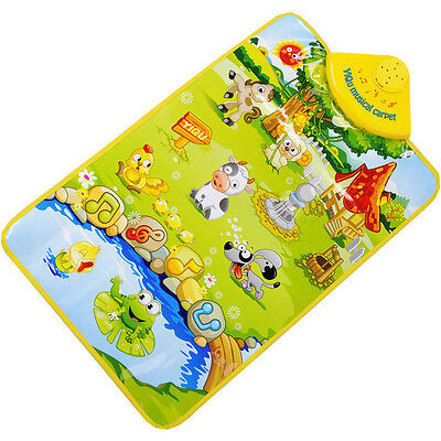 Farm Animal Musical Music Touch Play Singing Gym Carpet Mat Toy Gift For Kid NEW