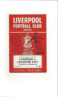 Liverpool v Leicester City Football Programme 1965/66