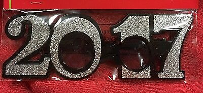 2017 Graduation New Year Wedding Photo Booth Prop Party Glasses Silver Glitter