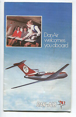 Dan Air Welcome Aboard Booklet 1970S With Route Map Brief History Fleet Info