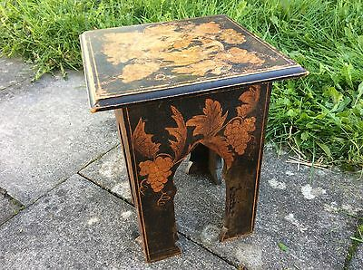 Old Antique Asian Floral Oriental Black Painted Lacquered Stool Plant Stand VG