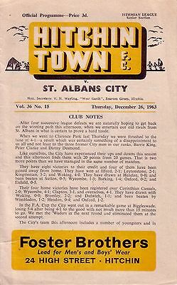 HITCHIN TOWN v ST ALBANS CITY 1963/64 ISTHMIAN LEAGUE