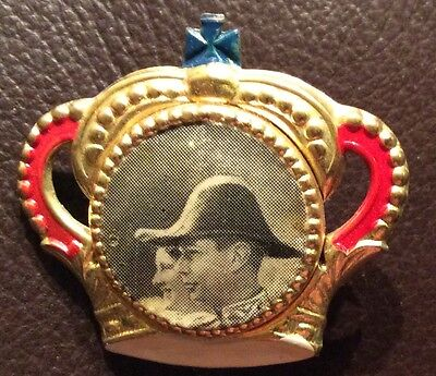 Old Vintage 1930's Queen Mother And King George VI Coronation Tin Pin Badge