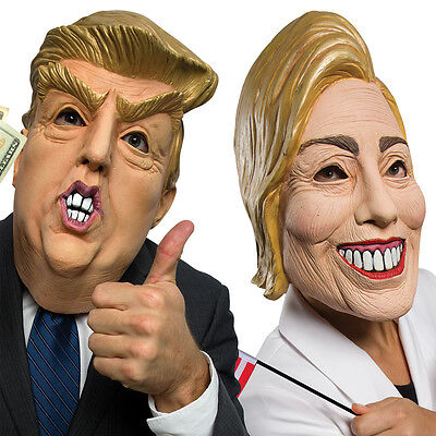 NEW (Set) Presidential Candidates Hillary Clinton and Donald Trump Latex Masks