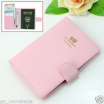 Sweet Bowknot Crown Buckles Passport Holder Protect Cover Case Organizer UK