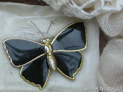 Pretty Vintage 70/80's Gold Plated Black Enamel Style Butterfly Brooch