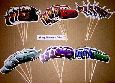 12 X Disney Cars Cake Picks /Flags Cupcake Toppers Planes 2 Party Decorations 34