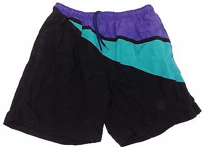 PRO SPORT - VTG Black, Green & Purple Lined Swim Trunks, Board Shorts, Men's XL