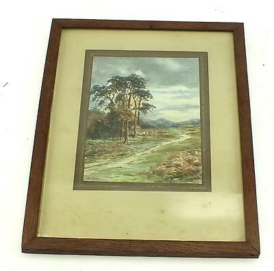 20thC Watercolour Scotish Painting - Highland Lodge Mountain Picture Frame