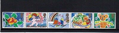 1989 Greeting Booklet Stamps - A Strip of Five 19p MNH Stamps - 31 January 1989