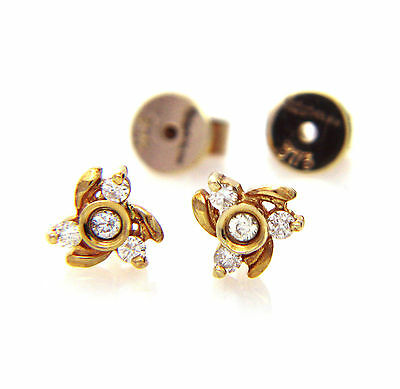 Hallmarked 9ct Yellow Gold 0.20Cts Real Natural Diamond Flower Stud Earrings 6mm