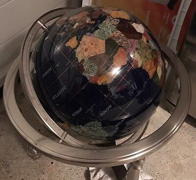 Gemstone Globe With Silver Foot 19'' - V Good Condition