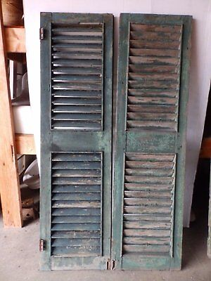 Pair Early Antique Shutters Door Window Louvered Vintage Heavy Old 17x62 2261-16