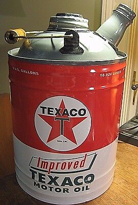 VINTAGE STYLE TEXACO IMPROVED MOTOR OIL METAL CAN Gas Display Pump Gulf SunocoBP