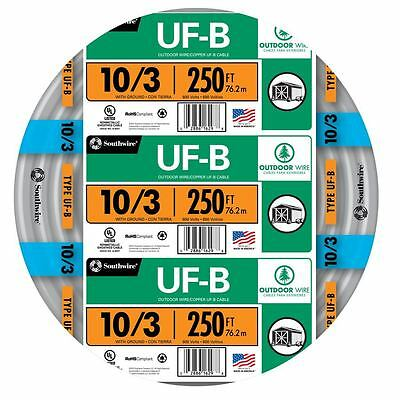 250' Roll 10-3 AWG UF-B Gauge Outdoor Burial Electrical Feeder Copper-Wire Cable