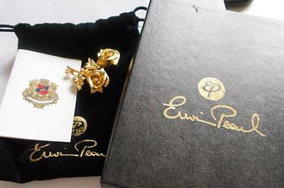 Vintage 1980's Gold Tone Golden Rose Signed Erwin Pearl Brooch - Gift Boxed