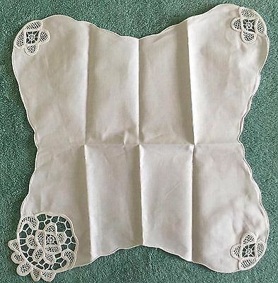 Linen Dinner Roll Cover with Battenburg Lace Corners