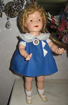 """♚ 1930's BEAUTIFUL 22"""" Ideal Composition """" Triangles """" Shirley Temple Doll"""