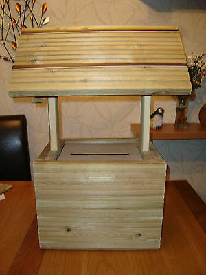 Wooden wedding wishing well unpainted free postage in the uk