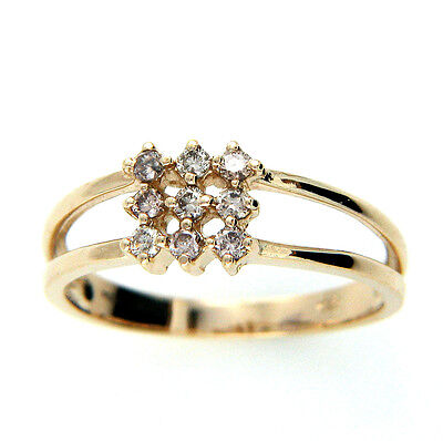 New Hallmarked 9ct 9k Gold 0.23cts Real Natural Diamond Ring Size N1/2