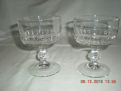 2 Vintage Sundae Glasses  Approx 4 1/2 ins tall x 3 1/2 ns wide