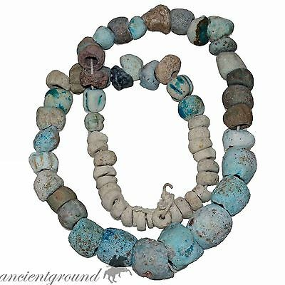 Lot Of 65 Egyptian Faience Painted Beads From A Necklace Circa 500-300 Bc