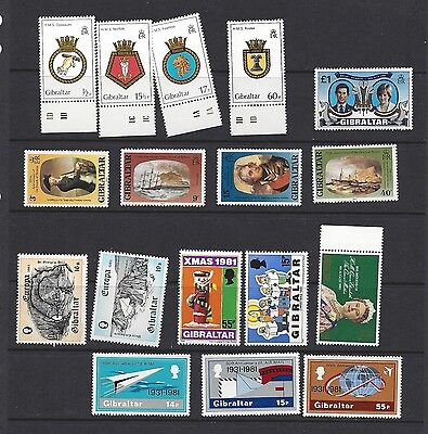 GIBRALTAR NHM EARLY 1980s SETS NELSON AIR MAIL SHIP CRESTS etc