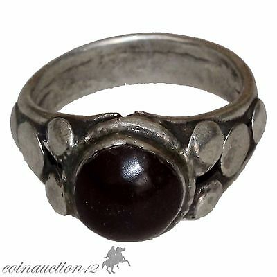 Stunning Near Eastern Late Medieval Silver Ring With Nice Glass Dark Stone