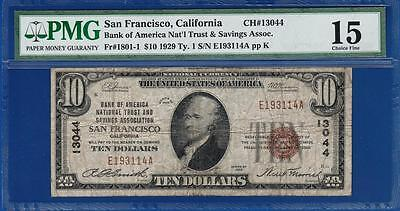 1929 $10 Bank of America National San Francisco CA 13044 - PMG Fine VF 15 - C2C
