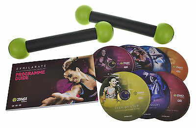 Zumba Fitness Exhilarate Exercise DVD Set with 7 DVDs and 2 Toning Sticks
