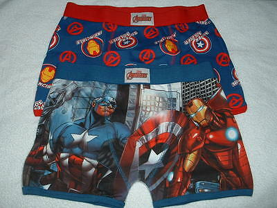 Two (2) Pair Of Boys Marvel Avengers Motif Boxer Shorts Age 4-5 Years New