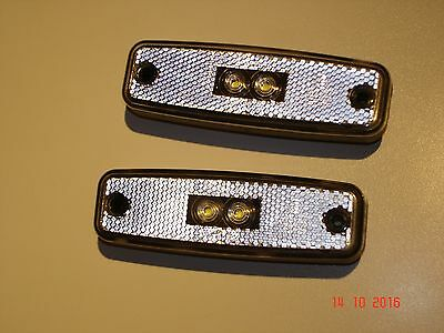 """new Rubbolite""  2 X  Led 12/24V Clear Front Marker Lamps/reflectors"